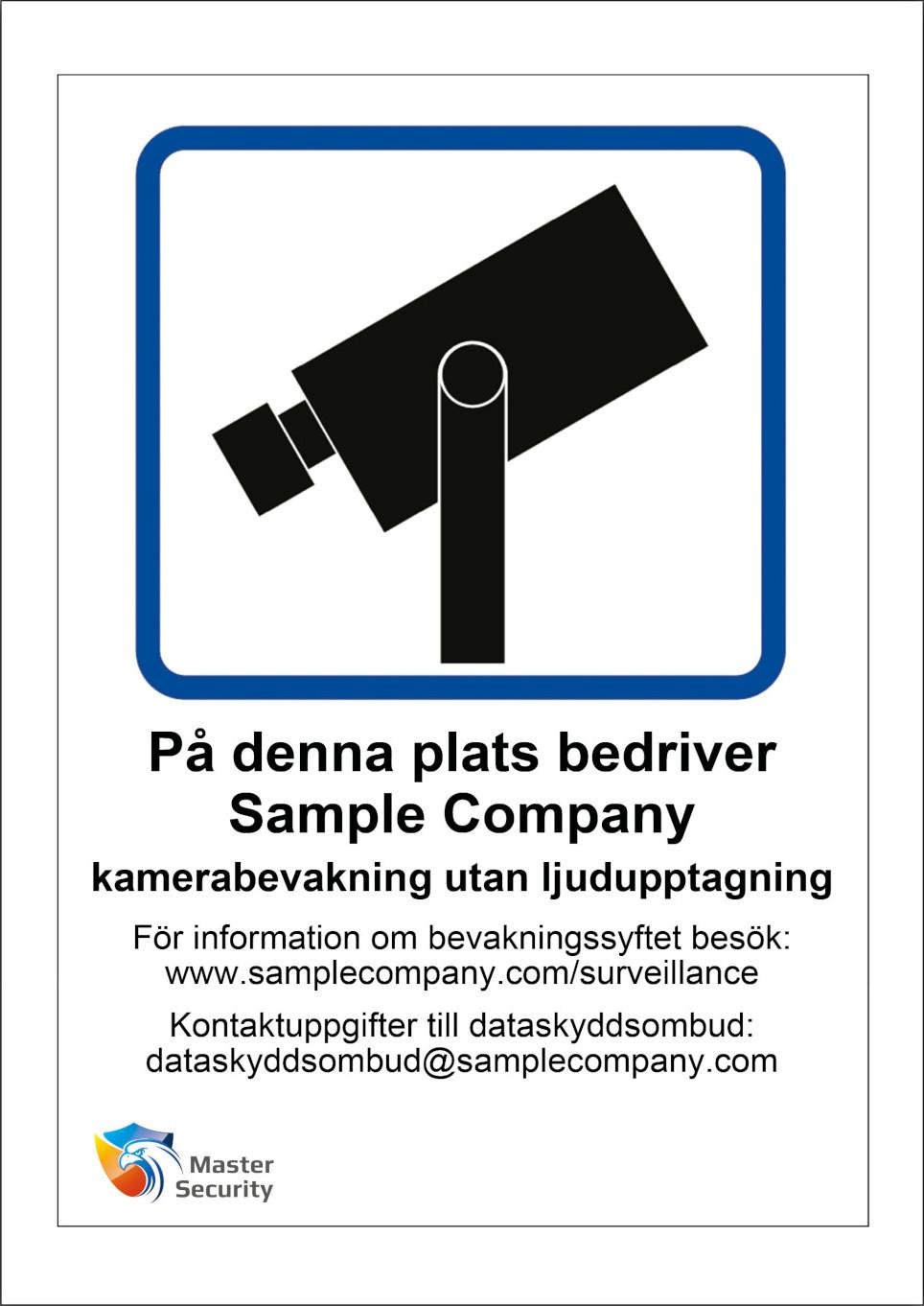 GDPR skyltar kameraövervakning